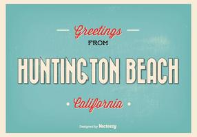 Huntington Beach Retro Gruß Illustration