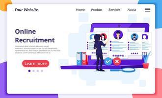 målsida för rekrytering för affärskvinna online vektor