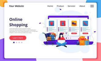 Frau auf Laptop Online-Shopping-Landingpage