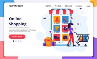 kvinna som använder online shopping cart landningssida vektor