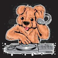 DJ Teddybär Musik Design vektor