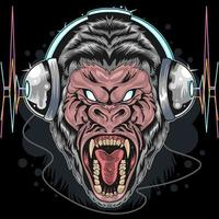 wilder Gorilla mit Kopfhörer Design vektor