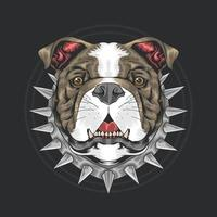 Bullenhundekopf mit Stachelhalsband vektor