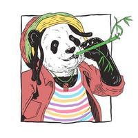 Panda und Bambus Reggae Musik Design vektor