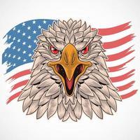 Adlerkopf mit uns Flaggenentwurf vektor