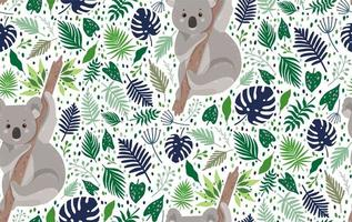 niedlicher Koala, umgeben von nahtlosem Blattmuster vektor