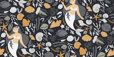 sömlösa mönster med sjöjungfruer och havselement vektor