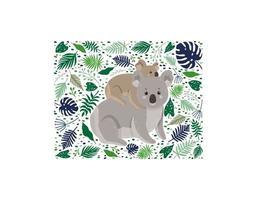 Mutter Koala mit ihrem Kind umgeben von Blättern vektor