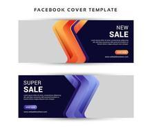 Social Media Sale Banner mit gewinkelten Formen mit Farbverlauf vektor