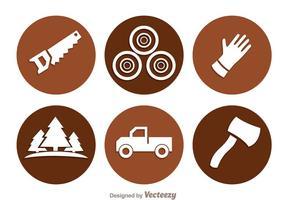 Holzfäller-Kreis-Ikonen vektor