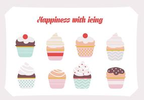 Free Set Cupcakes Vektor Hintergrund