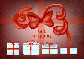 Kostenlose Geschenk-Boxen mit Bögen und Bänder Vektor