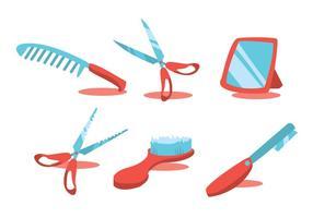 Barberverktyg vektor uppsättning