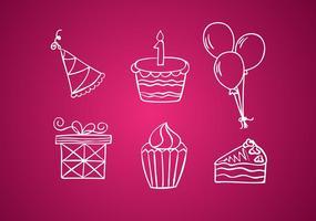 Födelsedag vit linje ikoner vektor