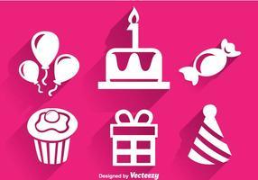 Födelsedag vit ikoner vektor