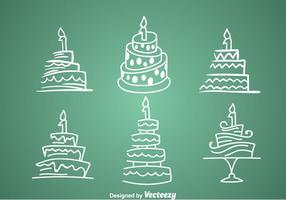1: a födelsedagstårta ikoner vektor