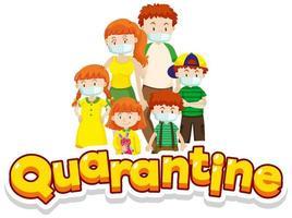 Familie in Quarantäne mit Masken vektor