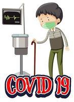Covid-19-Thema mit altem Mann im Krankenhaus