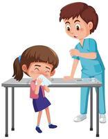 Arzt und krankes Mädchen im Krankenhaus vektor