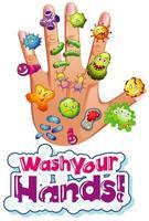 Coronavirus-Zellen an der menschlichen Hand