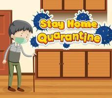 Quarantäne zu Hause bleiben mit altem Mann zu Hause