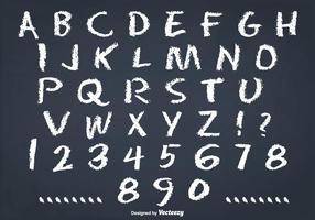 Stökigt krita stil alfabetet set vektor
