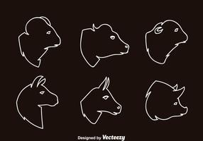 Däggdjur huvud skiss ikoner vektor
