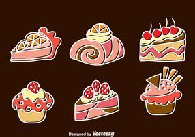 Söt tårta ikoner Set vektor