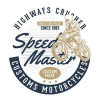 kreisförmiges Motorrad-Emblem mit Fahrer und Text
