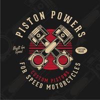 vintage motorcykel kolvar emblem vektor