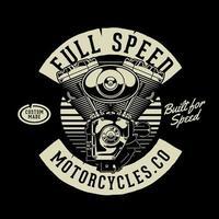 retro stil v-twin motorcykel motor på svart