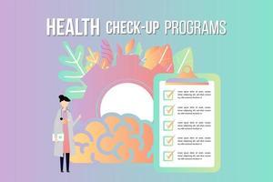 hälsa check up checklista medicinska tjänster design vektor