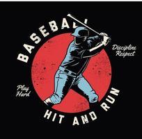 Baseballspieler schwingender Schläger