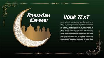 grön och guld ramadan kareem hälsning med månen vektor