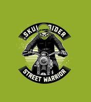 Vorderansicht des Motorradfahrers mit Schädelkopf