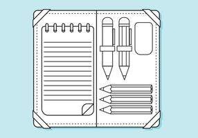 Flat Pencil Case Linjer Coloring Page vektor