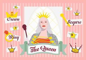 Free Minimal Queen Charakter Vektor Hintergrund mit verschiedenen Elementen
