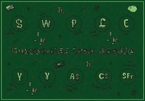 Gratis Valutor Ikon Doodle Vector Bakgrund
