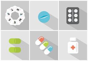 Vektor uppsättning av piller lådor och piller