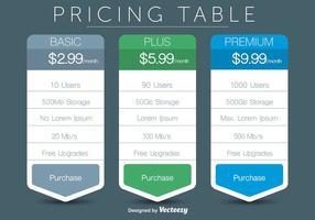 Pricing Tabelle Vektoren