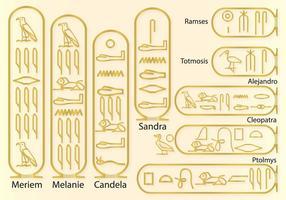 Namn i hieroglyfer vektor