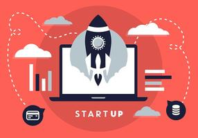 Free Flat Design Business Startup mit Rocket Icon