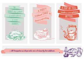 Kostenlose Zitate über Lebensmittel Vektor-Illustration mit Hand gezeichnet Elemente vektor