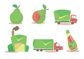 Guave Verarbeitung Vektor Set