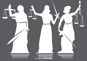 Dame Gerechtigkeit Silhouetten vektor