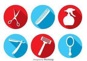 Frisör verktyg långa skugg ikoner vektor