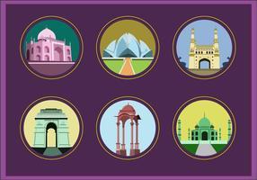 Indien Landmark Icon Vektoren