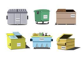Isolierte Müllcontainer Vektor Set
