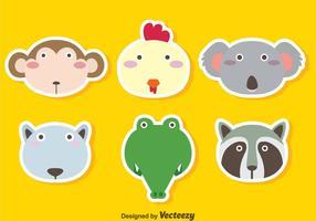 Cute Animals Face Vector Set