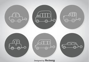 Linje bilar ikoner vektor